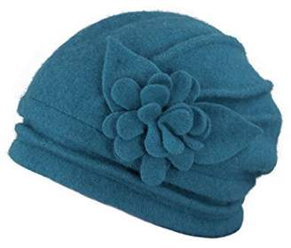 Dahlia Women s Elegant Flower Wool Cloche Bucket Slouch Hat f5d3f53c1952