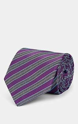 Isaia Men's Striped Textured Silk Necktie - Purple