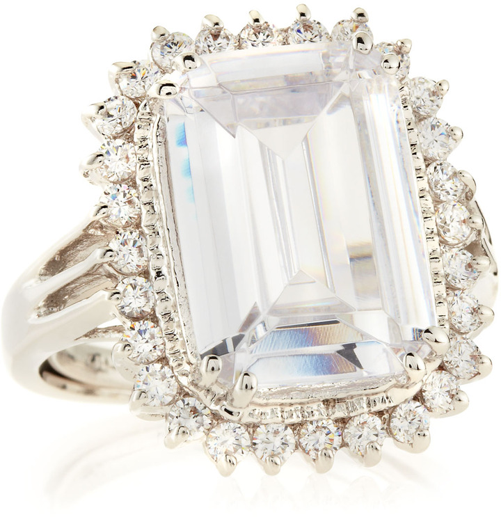 Kenneth Jay Lane CZ by Emerald-Cut Pave CZ Ring