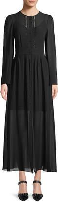 Dundas Long-Sleeve Button-Front Long Silk Georgette Dress