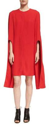 Narciso Rodriguez Cape-Sleeve Viscose Shift Dress, Red