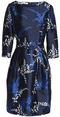 Oscar de la Renta Belted Printed Silk And Cotton-Blend Faille Dress