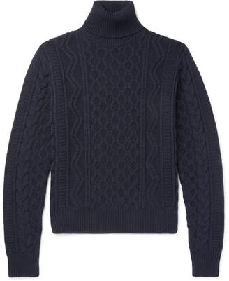 Saint Laurent Cable-Knit Wool Rollneck Sweater