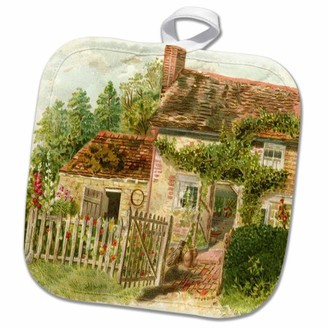 3dRose Image of English Country Cottage Painting - Pot Holder, 8 by 8-inch