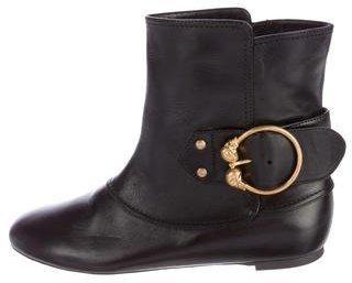 Alexander McQueenAlexander McQueen Buckle-Accented Leather Ankle Boots