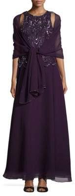 J Kara Sequined Sleeveless Dress