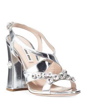 Miu Miu Metallic Crystal Block-Heel Sandals