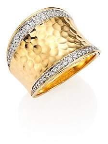 John Hardy Women's Classic Chain Pave Diamond& 18K Yellow Gold Hammered Saddle Ring