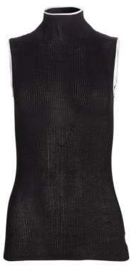 Helmut Lang Women's Sheer Ribbed Turtleneck Tank Top - Black White - Size Small