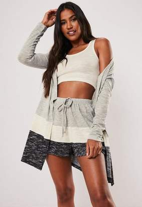 Missguided Grey Soft Knit Contrast Stripe Loungewear Cardigan
