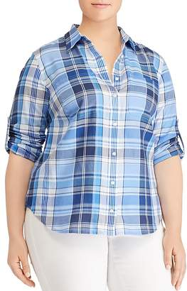 Lauren Ralph Lauren Plus Plaid Roll-Sleeve Shirt