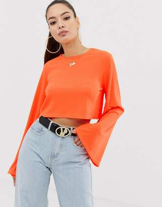 Missguided crop top with flared sleeves in neon orange