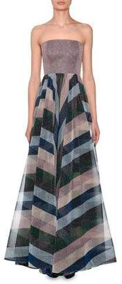 Missoni Strapless Bustier Metallic-Striped Evening Gown