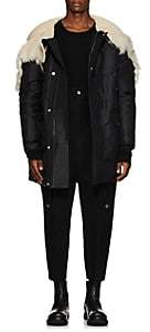 Rick Owens Men's Shearling-Hood Tech-Twill Down Parka - Black