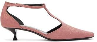 BY FAR Bella T Bar Kitten Heeled Faille Pumps - Womens - Pink