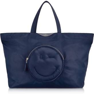 Anya Hindmarch Navy Blue Nylon Large Chubby Smiley E/w Tote Bag