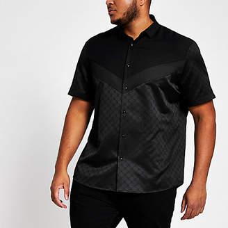 River Island Big and Tall black chevron RI monogram shirt