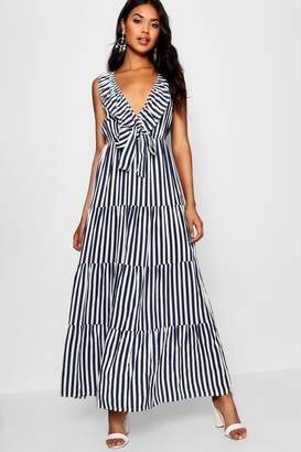 boohoo V Neck Ruffle Tier Maxi Dress
