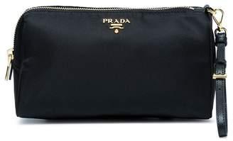 Prada black logo makeup pouch with handle
