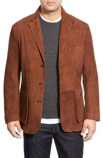 GoldenBear Golden Bear Slim Fit Suede Blazer