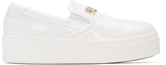 Kenzo White Faux-Leather Logo Sneakers $345 thestylecure.com