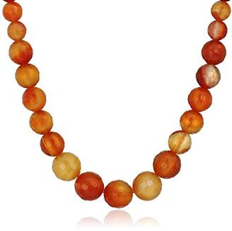 Faceted Carnelian Graduated Round Bead with Gold-Filleded Clasp Strand Necklace
