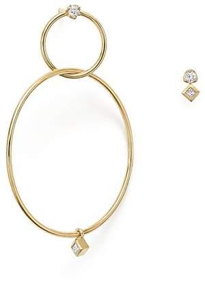 Chicco Zoë 14K Yellow Gold Mixed Diamond Stud and Hoop Earrings