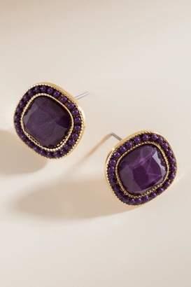 francesca's Ainsley Chain Trim Stud Earrings - Purple
