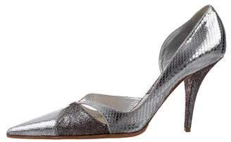 Christian Dior Embossed Pointed-Toe Pumps