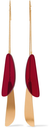 Isabel Marant - Gold-tone Acrylic Earrings - Red $195 thestylecure.com