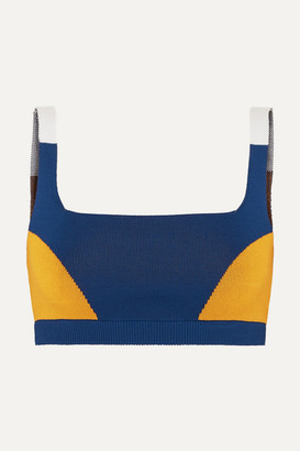 Nagnata - Color-block Technical Stretch-organic Cotton Sports Bra - Navy