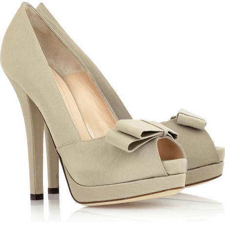 Fendi Grosgrain bow-front pumps