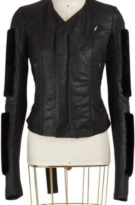 Rick Owens Fur sleeves leather jacket