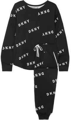DKNY Printed Stretch-jersey Sweatshirt And Track Pants Set - Black