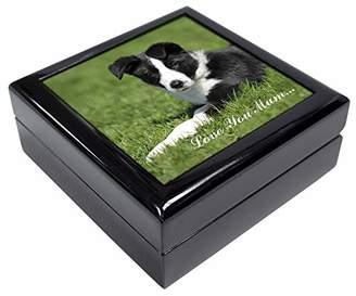 Border Collie Dog 'Love You Mum' Keepsake/Jewellery Box Christmas Gift