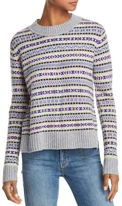 Aqua Fair Isle High/Low Cashmere Sweater - 100% Exclusive