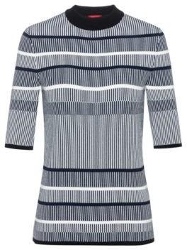 Slim-fit striped sweater in super-stretch yarn