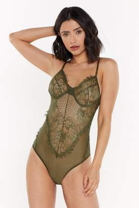 Nasty Gal Womens Rave On Lace Bodysuit - Green - M, Green