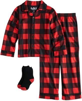 Buffalo David Bitton Up Late Boys 4-10 Up-Late Pajamas & Socks Set