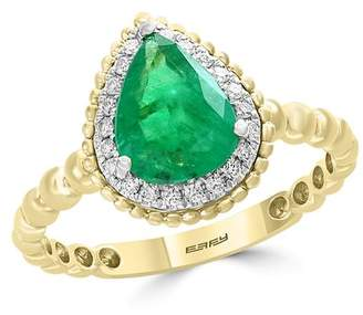 Bloomingdale's Emerald & Diamond Beaded Teardrop Ring in 14K White & Yellow Gold - 100% Exclusive