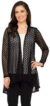 Joan Rivers Classics Collection Joan Rivers Drape Front Crochet Cardigan with Long Sleeves