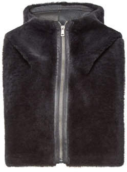 Jil Sander Shearling Hood with Leather