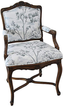 One Kings Lane Vintage Carved Mahogany Armchair with Toile Fabric