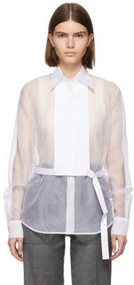 Helmut Lang White Silk Organza Detachable Bib Shirt
