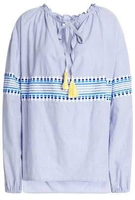 Lemlem Embroidered Striped Cotton-Blend Top
