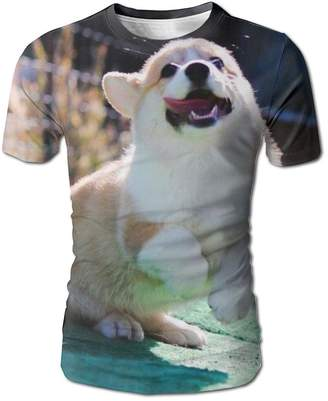 Corgi Genieve Lopez Men's T Shirts 3D Full Run Summer Casual Short Sleeves