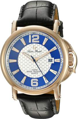Lucien Piccard Men's 'Triomf' Quartz Stainless Steel and Black Leather Casual Watch (Model: LP-40018-RG-03-SC)