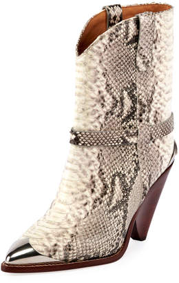 Isabel Marant Lamsy Low Snake-Print Leather Western Boots