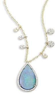 Meira T Diamond& Opal Pendant Necklace