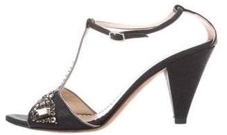 Oscar de la Renta Embellished T-Strap Sandals